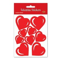 """Club Pack of 48 Red Heart Valentine Decorative Sticker Sheets 7.5"""""""
