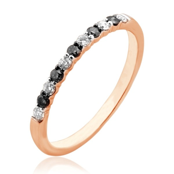 Beautiful 0.25 Carat Round Brilliant Cut Black & White Diamond Anniversary Band Ring