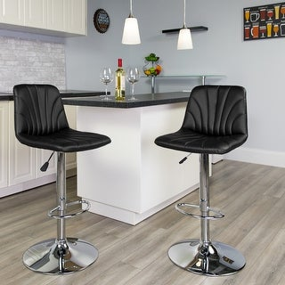 Contemporary Vinyl Adjustable Barstool with Embellished Stitch Design