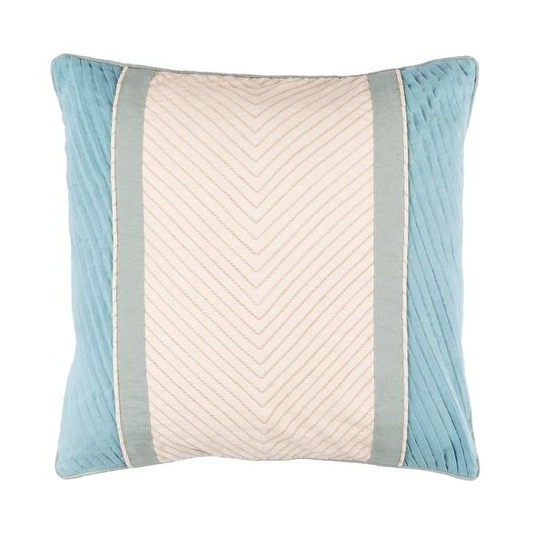 """20"""" Blue and Cream Contemporary Design Square Throw Pillow with Sewn Seam Closure"""