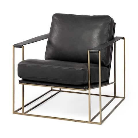Mercana Watson Leather or Fabric Wrap Gold Metal Frame Accent Chair