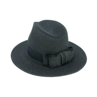 ChicHeadwear Womens 100% Paper Panama Hat w/ Fringed Bow
