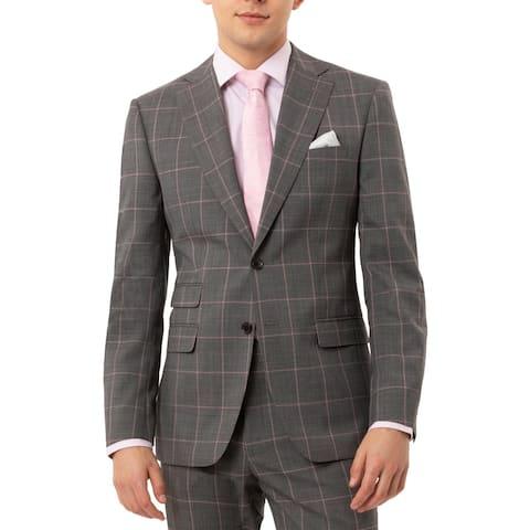 Tallia Mens Jacket Wool Blend Window Pane - Gray/Pink - 42L