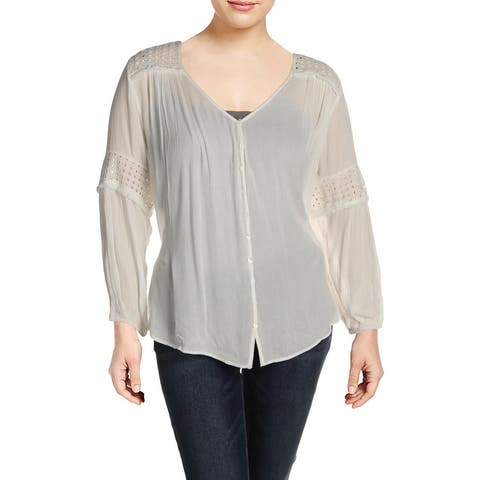 Karen Kane Womens Blouse Embroided eyele