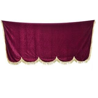Unique Bargains Tassel Embellished Dust Protective Pleuche Piano Half Cover Burgundy