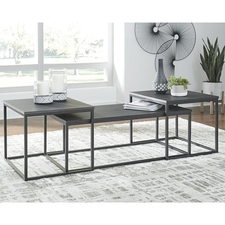 """Link to Yarlow Contemporary Black 3-Piece Occasional Table Set - 46""""W x 22""""D x 16""""H Similar Items in Living Room Furniture"""