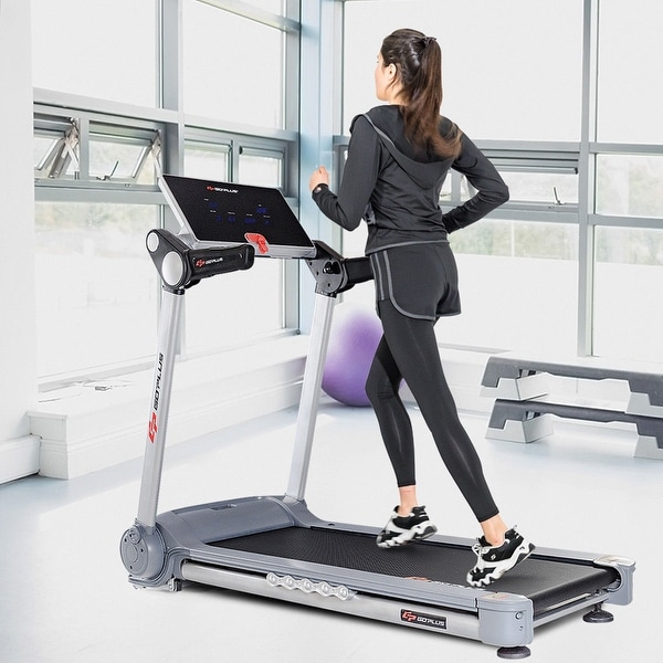 Goplus 2.05HP Portable Folding Electric Treadmill Run Fitness Machine Home  Gym   Gray