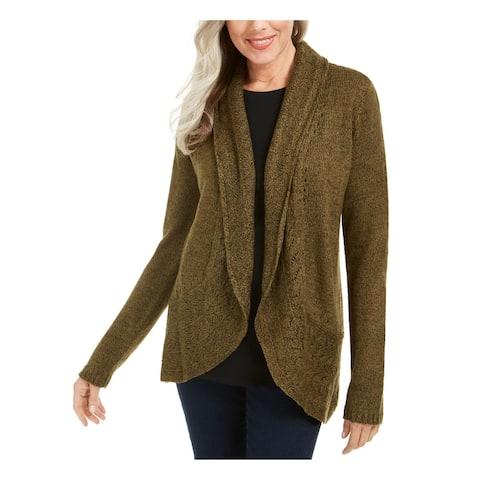 KAREN SCOTT Womens Brown Long Sleeve Open Cardigan Sweater Size L