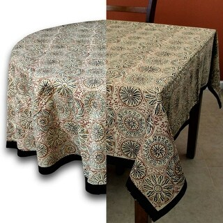 Vegetable Dye Block Print Tablecloth Rectangle Cotton Floral Tablecloth Round