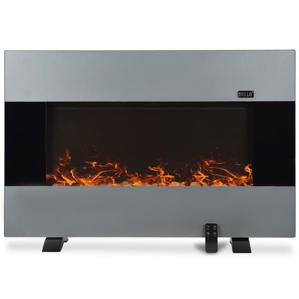 """Della 37""""inch XL Heat Electric Wall Mount & Free Standing Fireplace Heater w/ Remote, 1500W, Stainless Steel"""