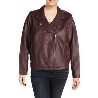 Levi's Womens Plus Leather Jacket Faux Leather Portrait Collar