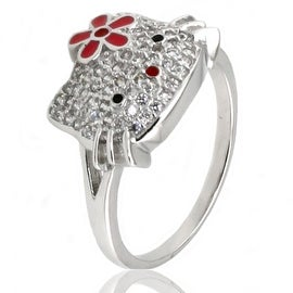 Sterling Silver Cubic Zirconia Kitty Ring w/ Flower