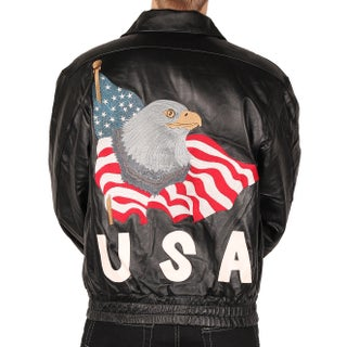 Leather World Men's USA Leather Jacket w/Eagle American Flag Embroidery (2 options available)