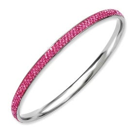 Stainless Steel Pink Crystal Bangle