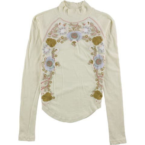 Free People Womens Disco Rose Embellished T-Shirt, Off-white, Small