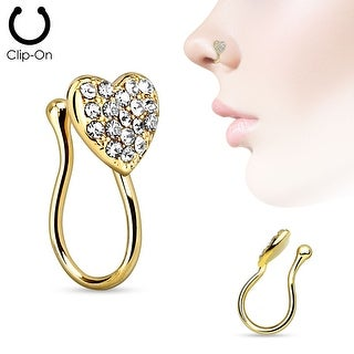 Heart with Gems Non Piercing Gold IP Nose Clip (Sold Individually)
