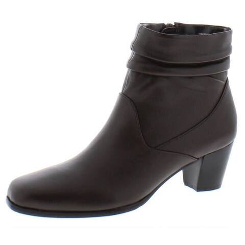 David Tate Womens Shadow Ankle Boots Leather Pleated - Brown - 7.5 Medium (B,M)