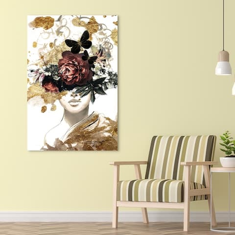 """""""Woman in Garden"""" Frameless Free Floating Tempered Glass with Gold Covered Panel Graphic Wall Art 48 in. x 32 in."""