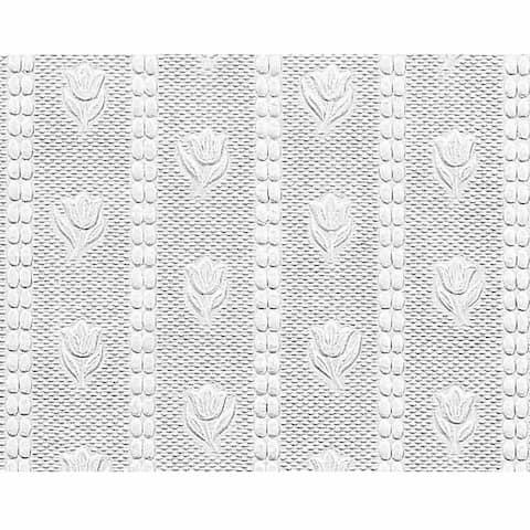 Wallpaper White Embossed Textured Vinyl Tulip 56 sq. ft. Renovator's Supply