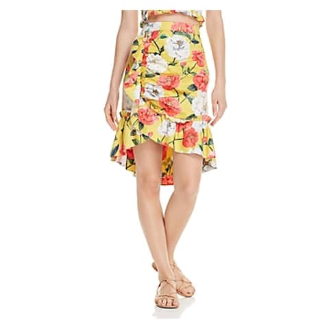 PARKER Womens Yellow Floral Below The Knee Wrap Formal Skirt Size 6