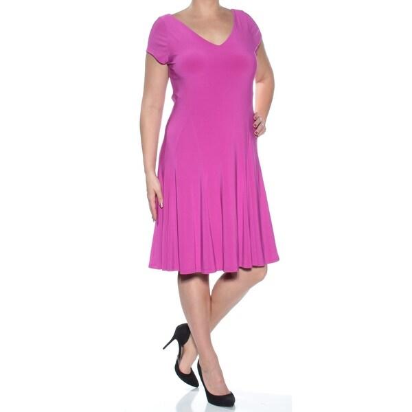 Shop RALPH LAUREN Womens Purple Cap Sleeve V Neck Knee