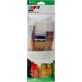 "Simply Art Large White Nylon Flat Brush Set 3/Pkg-3/4"", 1"" & 2"""