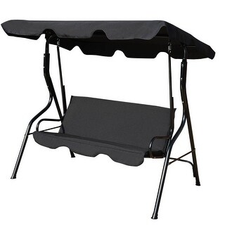 Costway 3 Seats Patio Canopy Swing Glider Hammock Cushioned Steel Frame Backyar Black