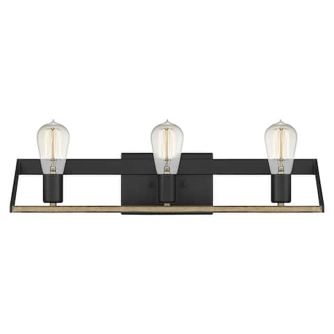 Studeman 3-Light Matte Black Vanity Light