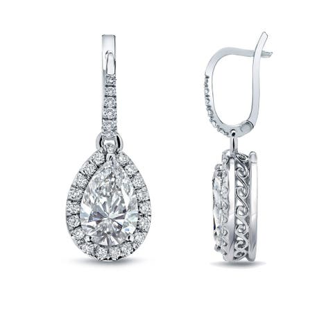Auriya 14k Gold Vintage Pear-cut Halo Diamond Dangle Earrings 2 2/5ctw