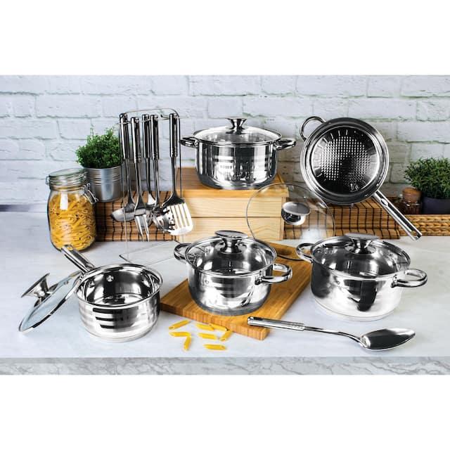 Blaumann 17-Piece Jumbo Stainless Steel Cookware Set