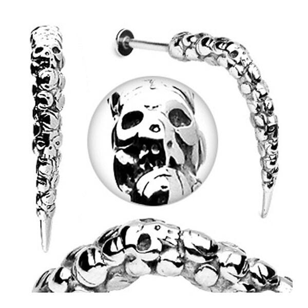 "Surgical Steel Artistic Skull Carved Long Claw Labret - 14GA 3/8"" Long (Sold Ind.)"