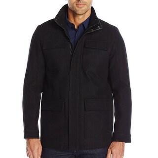 Calvin Klein NEW Solid Black Mens Size Medium M Full-Zip Wool Coat