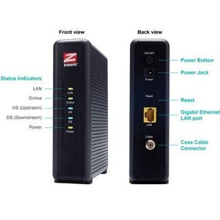 Zoom 5345-00-00 Cable Modem Docsis 3.0 343Mbps Cable Industry Approved