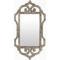 """39.5"""" Brown and White Antique Style Distressed Wood Finish Wall Mirror"""