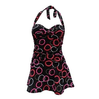Deep Blue Womens Black Red Halter Tie Pin-up One Piece Dress Swimsuit
