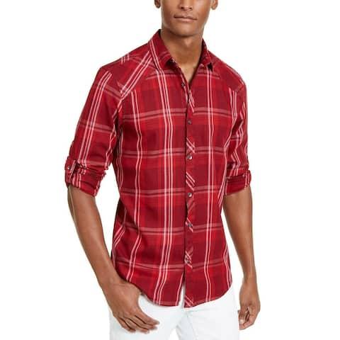 INC International Concepts Men's Marc Plaid Shirt Red Size 2 Extra Large
