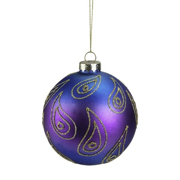 """Regal Peacock Blue, Purple and Gold Glass Ball Christmas Ornament 4"""" (100mm)"""