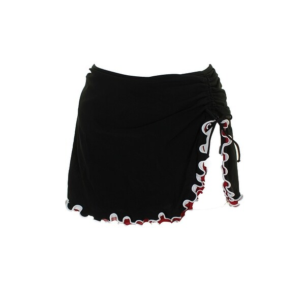12eaf8a89 Profile By Gottex Plus Size Black Red Ruffled Side-Slit Swim Skirt 22W