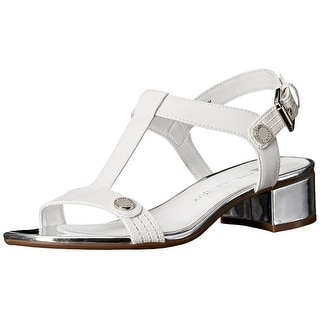 Anne Klein Womens Ebber Leather Open Toe Casual T-Strap Sandals