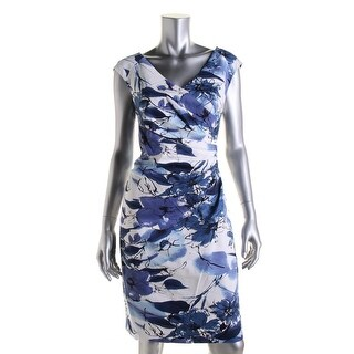 Adrianna Papell Womens V-Neck Floral Print Wear to Work Dress - 8