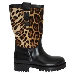 Dolce & Gabbana Black Leather Leopard Print Hair Boots
