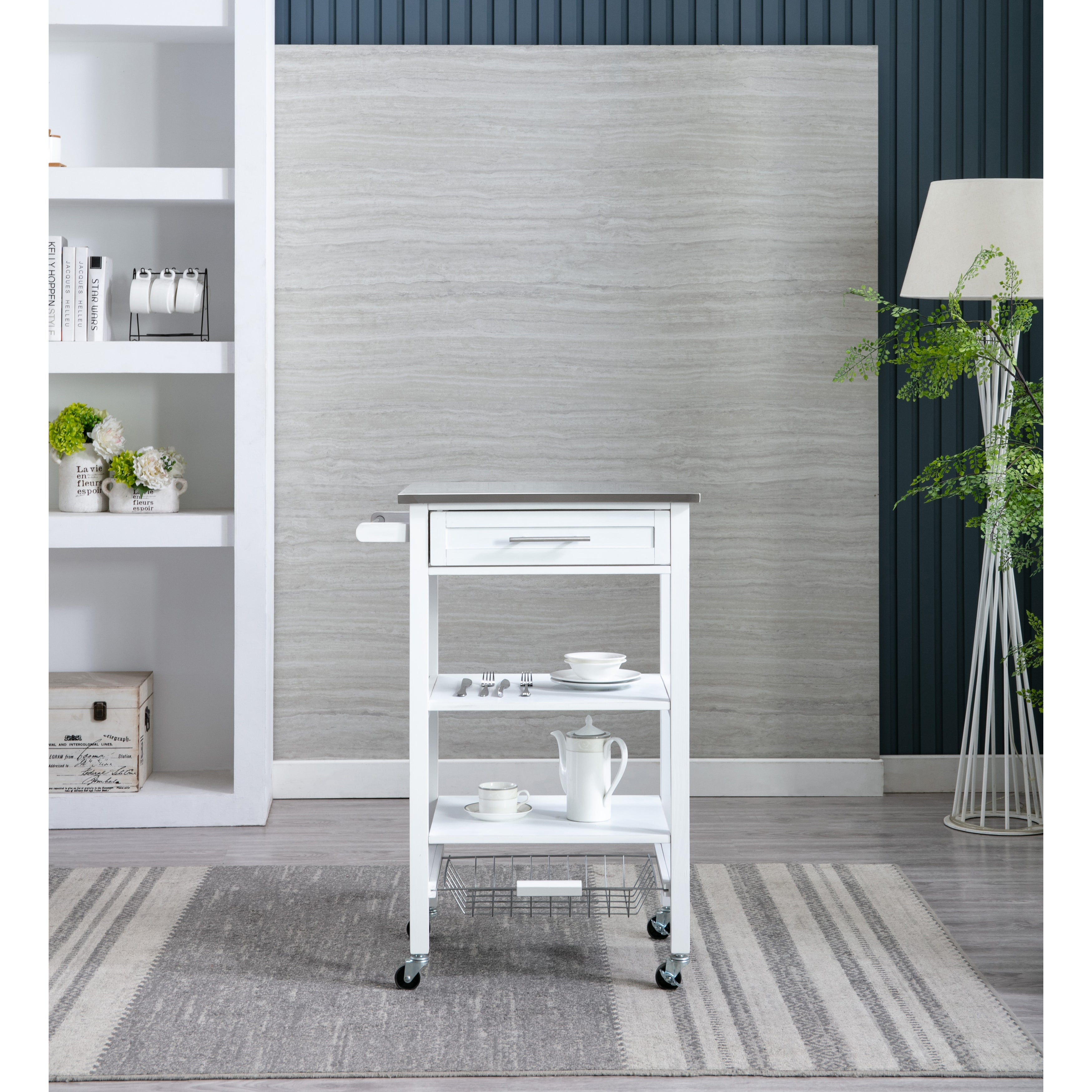Hennington Kitchen Cart With Stainless Steel Top White Wash On Sale Overstock 30429242
