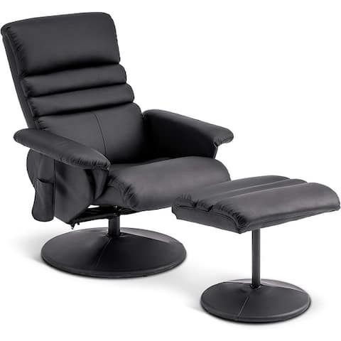 Mcombo Swivel Massage Recliner Chair with Ottoman Wrapped Base 7902