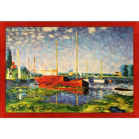 Claude Monet 'Red Boats at Argenteuil' Hand Painted Oil Reproduction