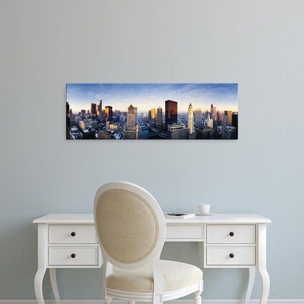 Easy Art Prints Panoramic Images's 'USA, Illinois, Chicago, sunrise' Premium Canvas Art