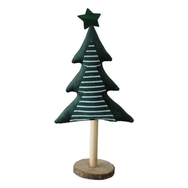 "16"" Green Fabric Christmas Tree with Wooden Base Tabletop Decoration"