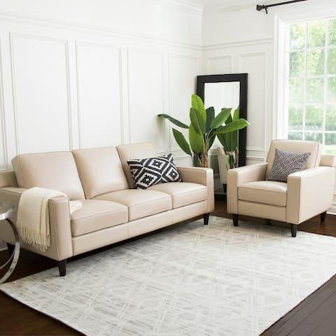 Abbyson Milton 2 Piece Top Grain Leather Armchair and Sofa Living Room Set