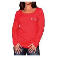 Harley-Davidson Women's Road Queen Long Sleeve Henley Shirt, Poppy Red