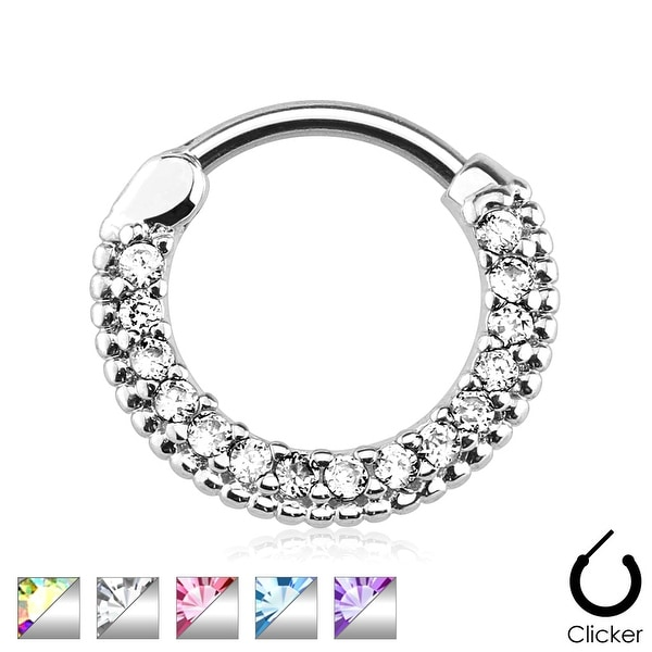 Round Paved Gems 316L Surgical Steel Septum Clicker (Sold Indiv.)