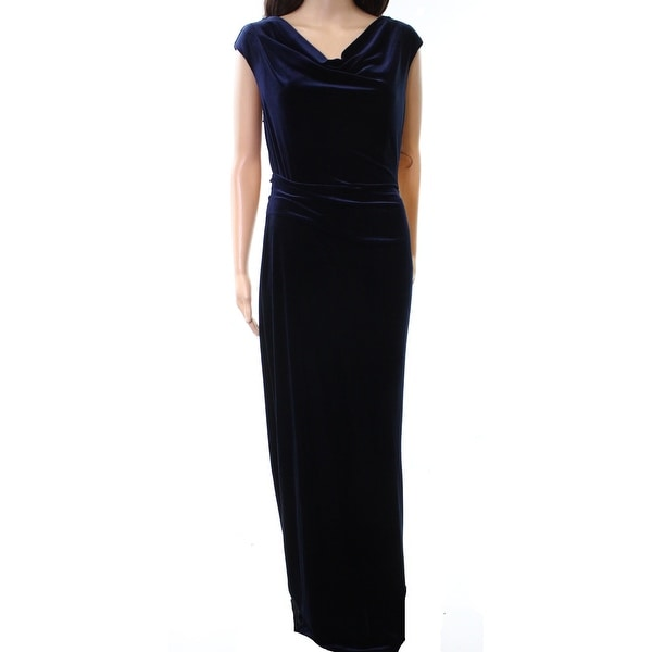 Vince Camuto NEW Navy Blue Womens Size 10 Cowl-Neck Velvet Gown ...
